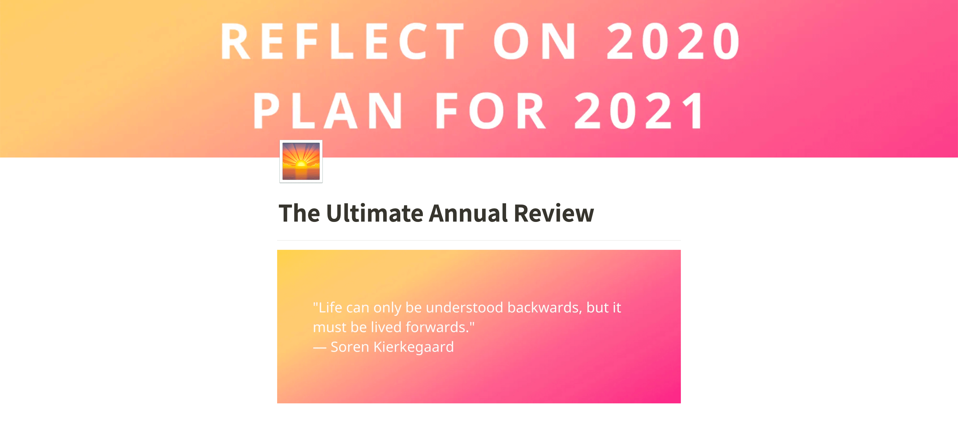 Screenshot from www.annualreview.life