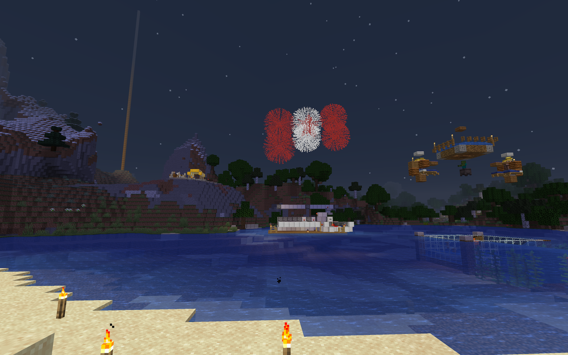 Screenshot of fireworks arranged like a Canadian flag, exploding in Minecraft