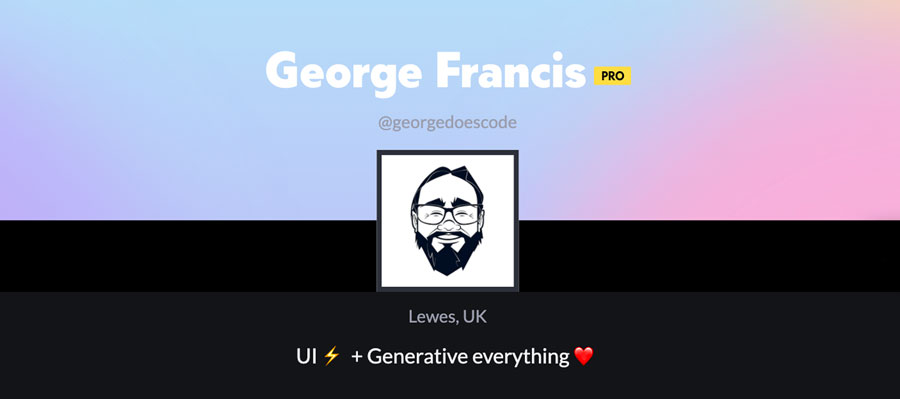 CodePen profile header of George Francis