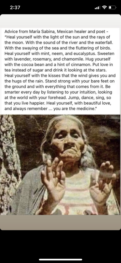 screenshot with advice from Maria Sabina, Mexican healer and poet