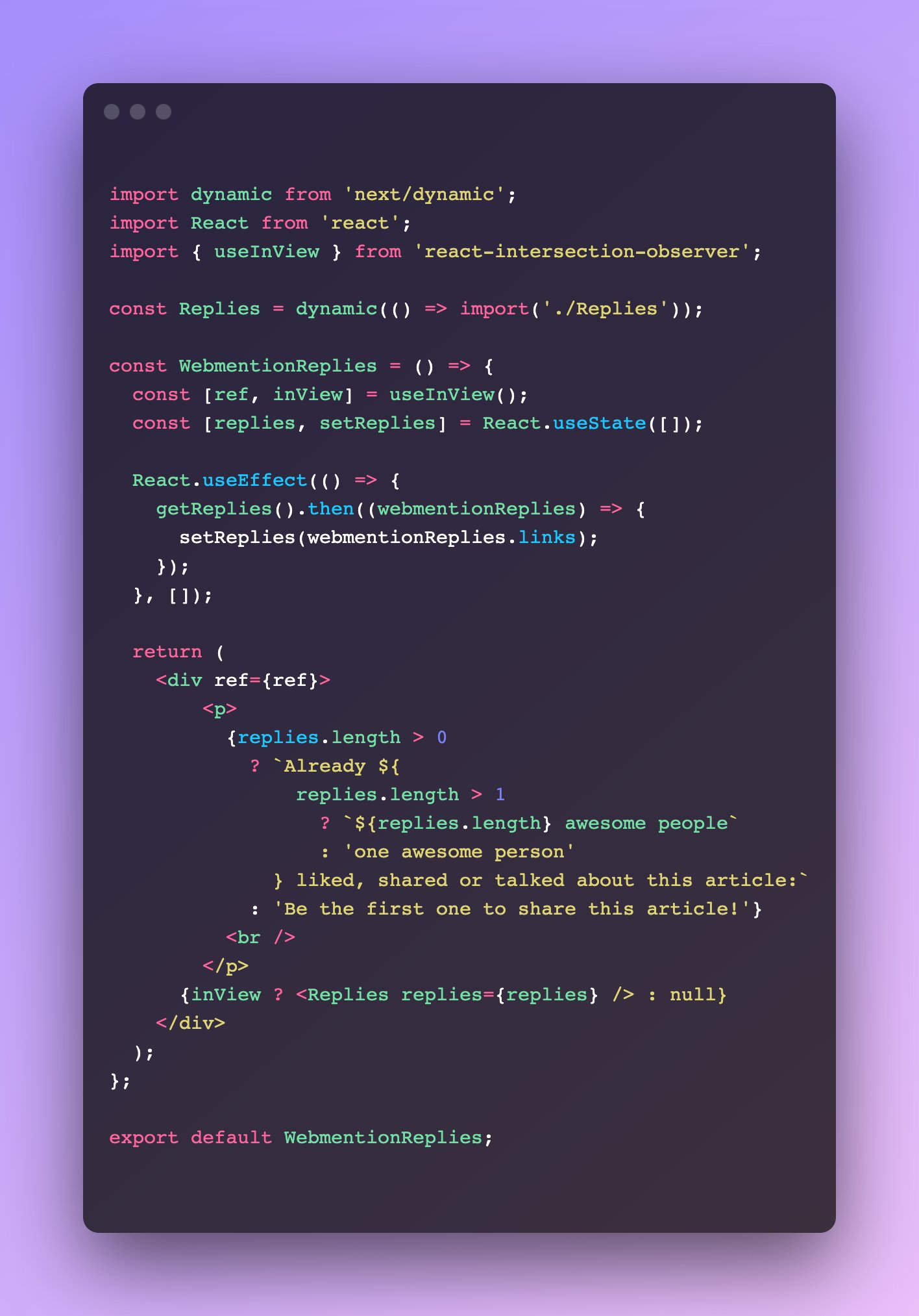 Code snippet showcasing how one can use a combination of code splitting and lazy loading using Intersection Observers