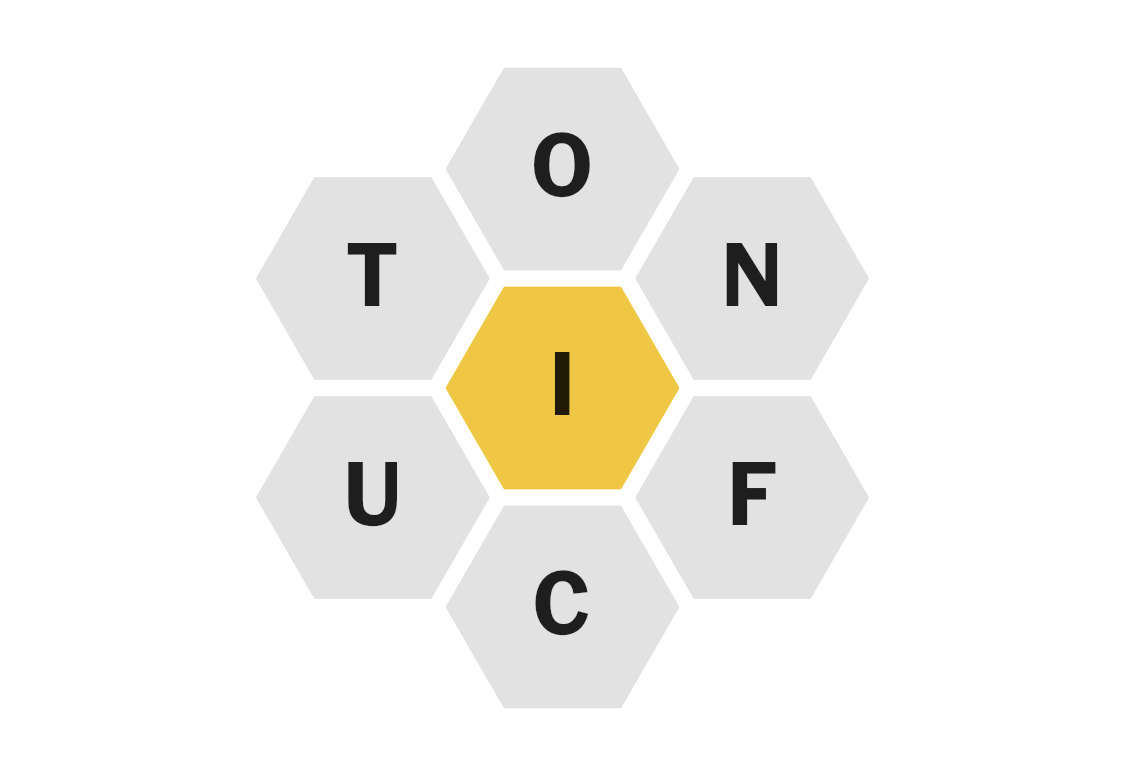 A screencap of the New York Times Spelling Bee, with the letters T, O, N, F, C and U arranged around a central letter I.