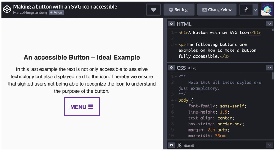 a codepen window showing accessible buttons