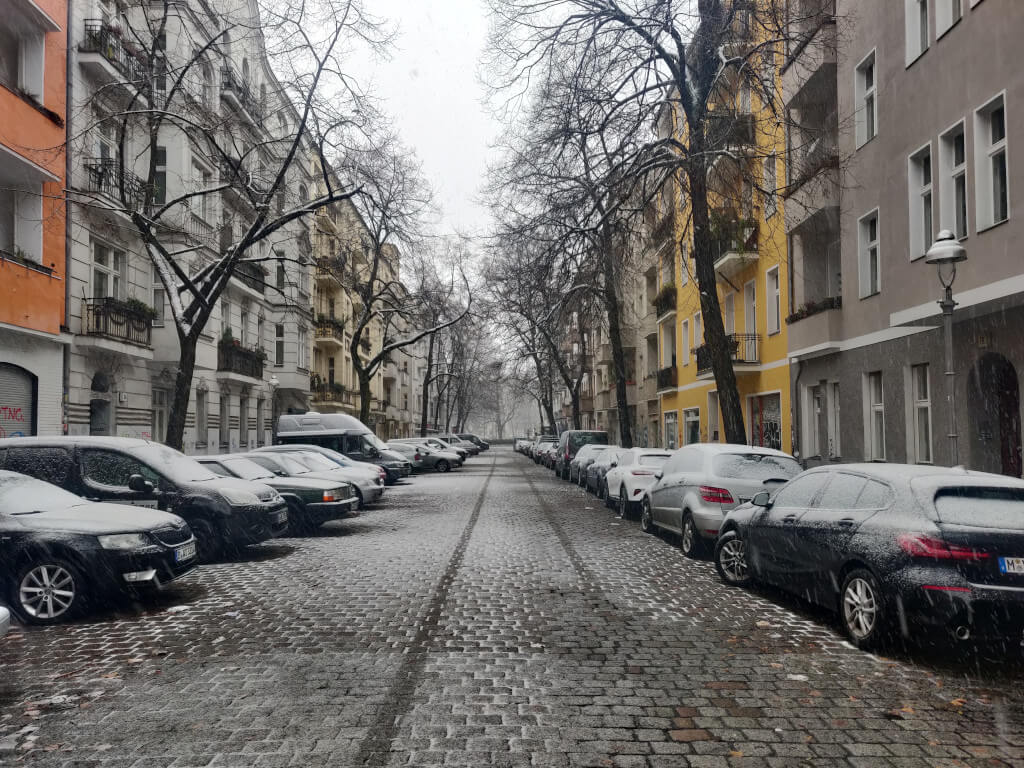 Light snow on a cobblestone street in Neukölln, Berlin