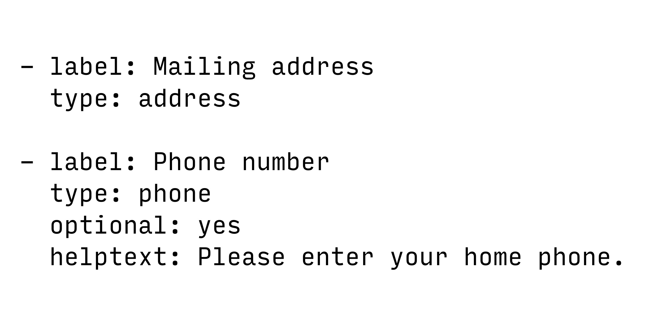 An address field and phone field in YAML.