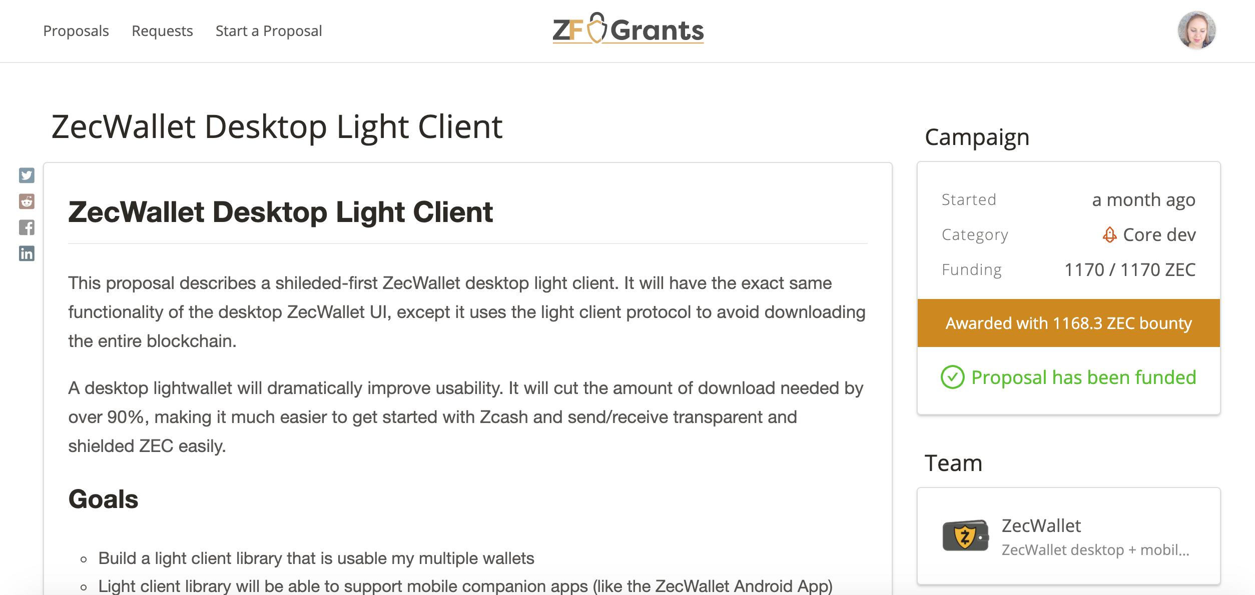 ZecWallet light client ZF Grants page