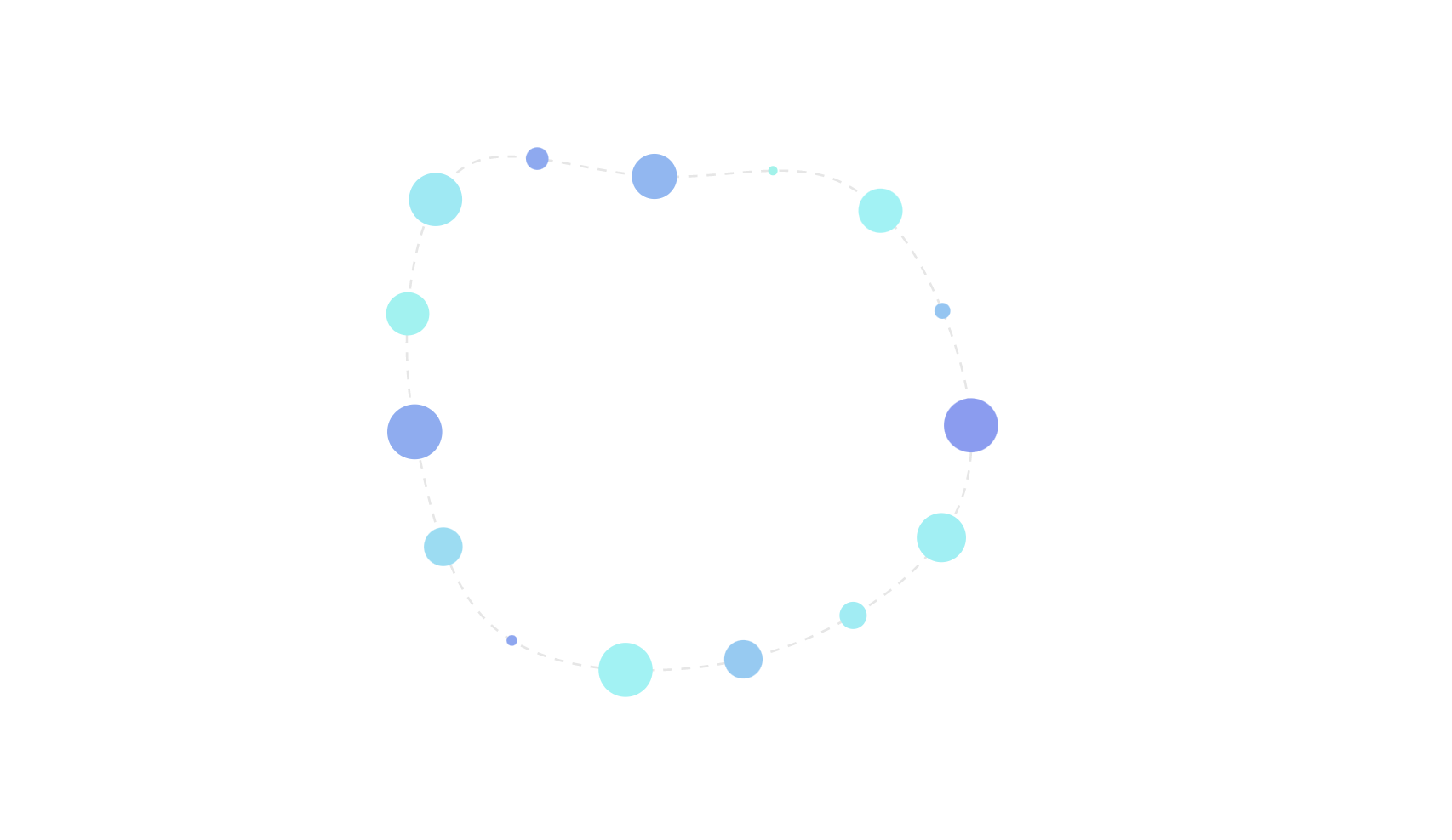 Generative art with colored circles placed along a path