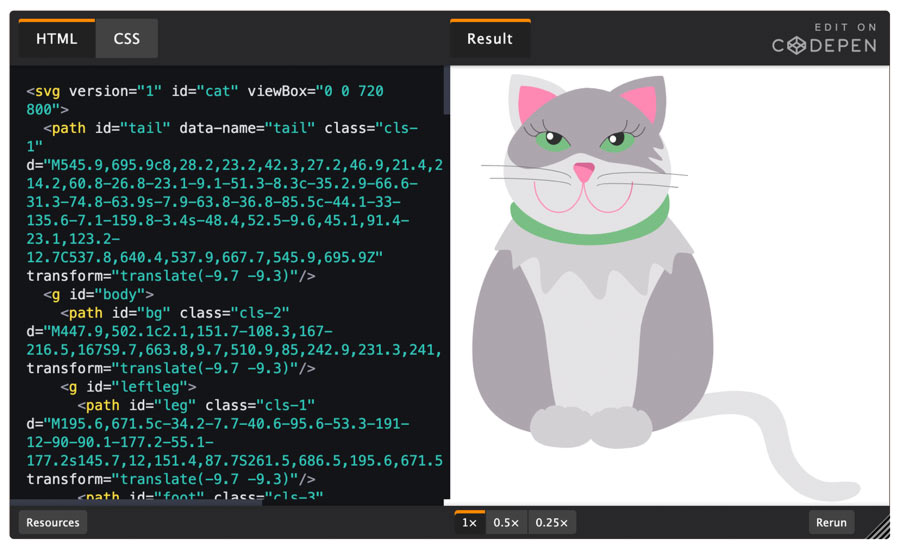 A code window with an illustration on a cat next to it