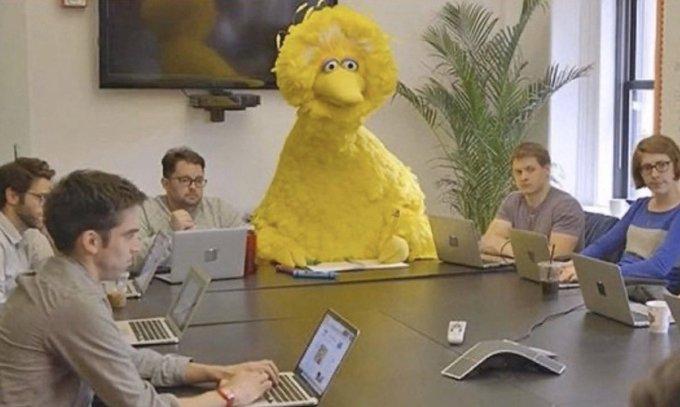 Big Bird from Sesame Street in a meeting