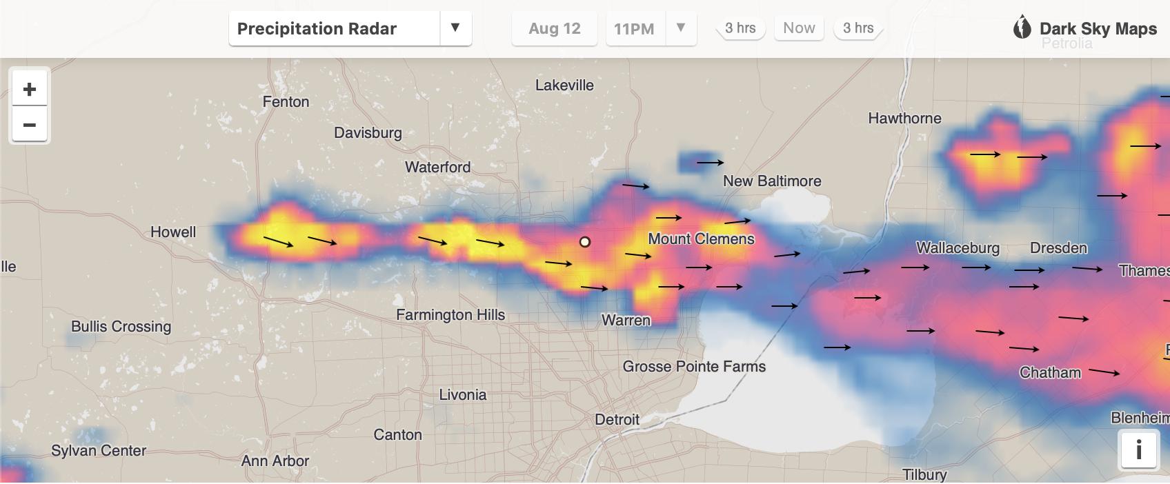 A radar map from Darksky.net