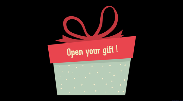 a present with text reading 'open your gift'