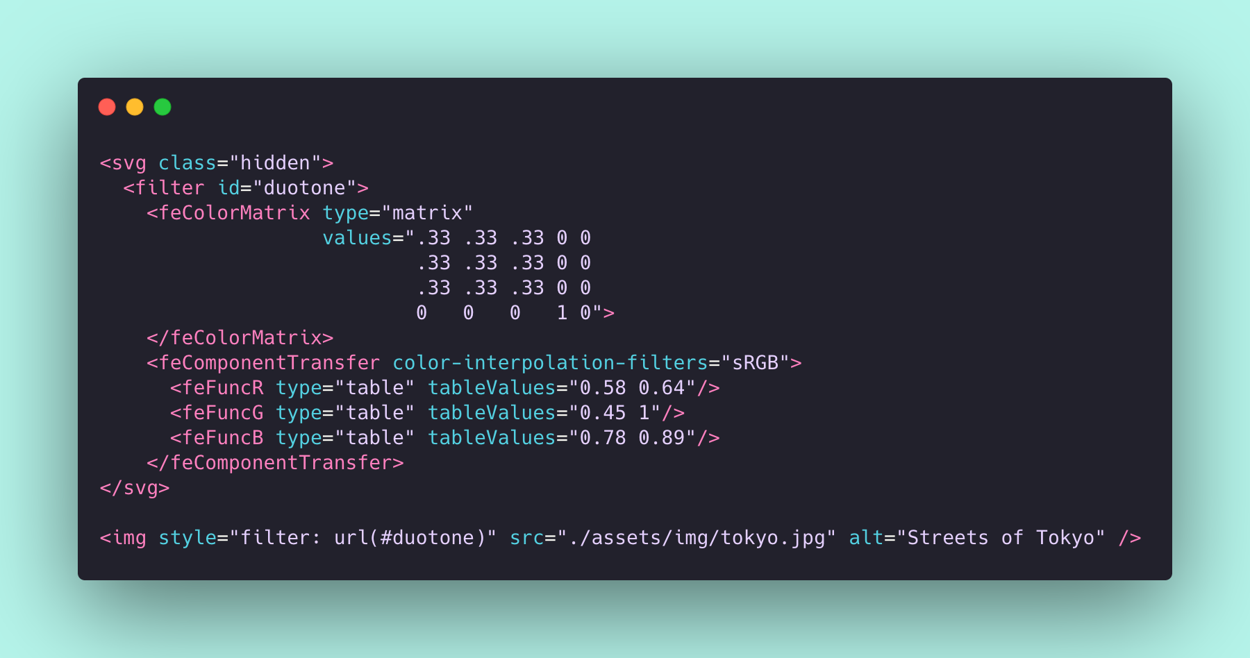 a screengrab of code. View the link above to see it in action