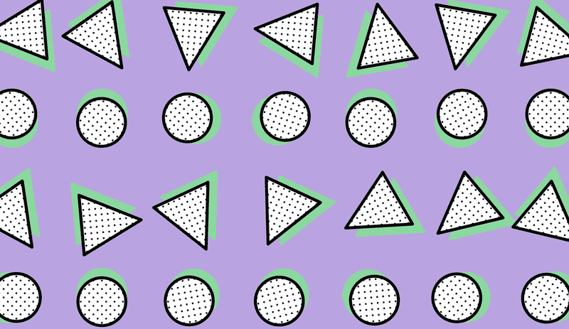 an 80's memphis pattern of circles and triangles