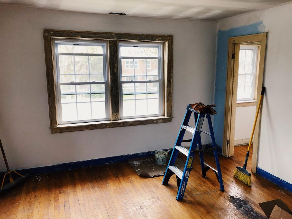 Window trim in the master bedroom