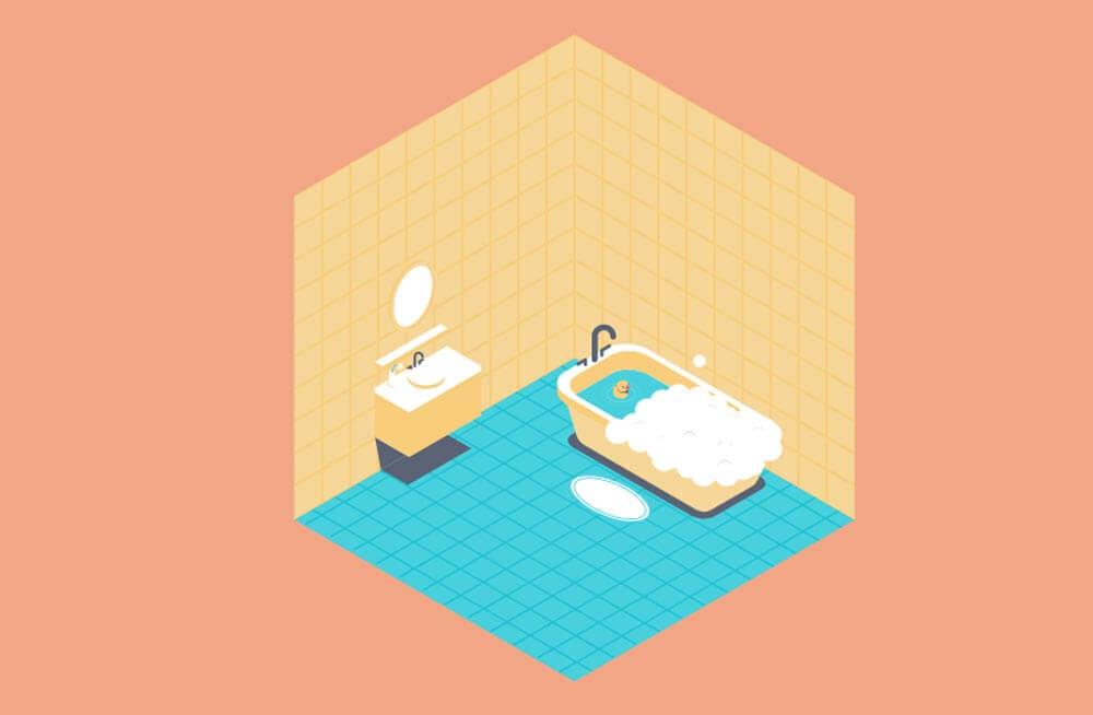 an isometric bubble bath